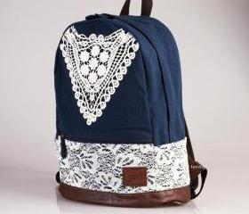 CUTE CANVAS BACKPACK WITH TRIANGLE LACE 3