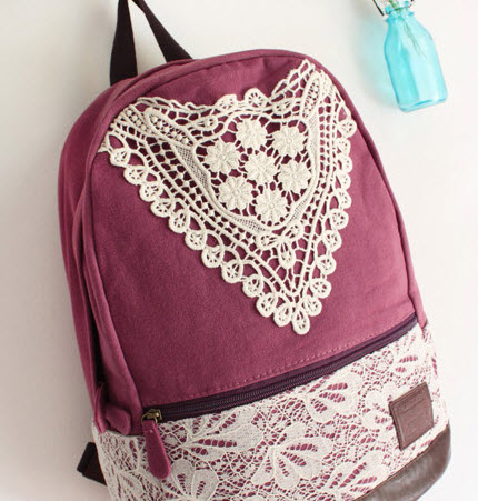 CUTE CANVAS BACKPACK WITH TRIANGLE LACE 3 on Luulla